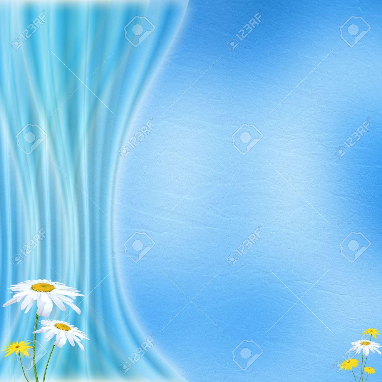 Délicat Fond Bleu Pastel Avec Rideau De Lumière Et De Fleurs Aux ...