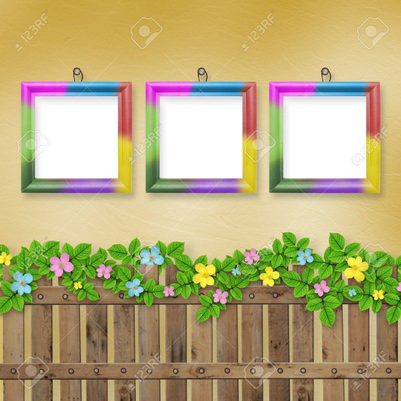 Wooden fence with a flower garland on the abstract background of a summer day Stock Photo - 12664648