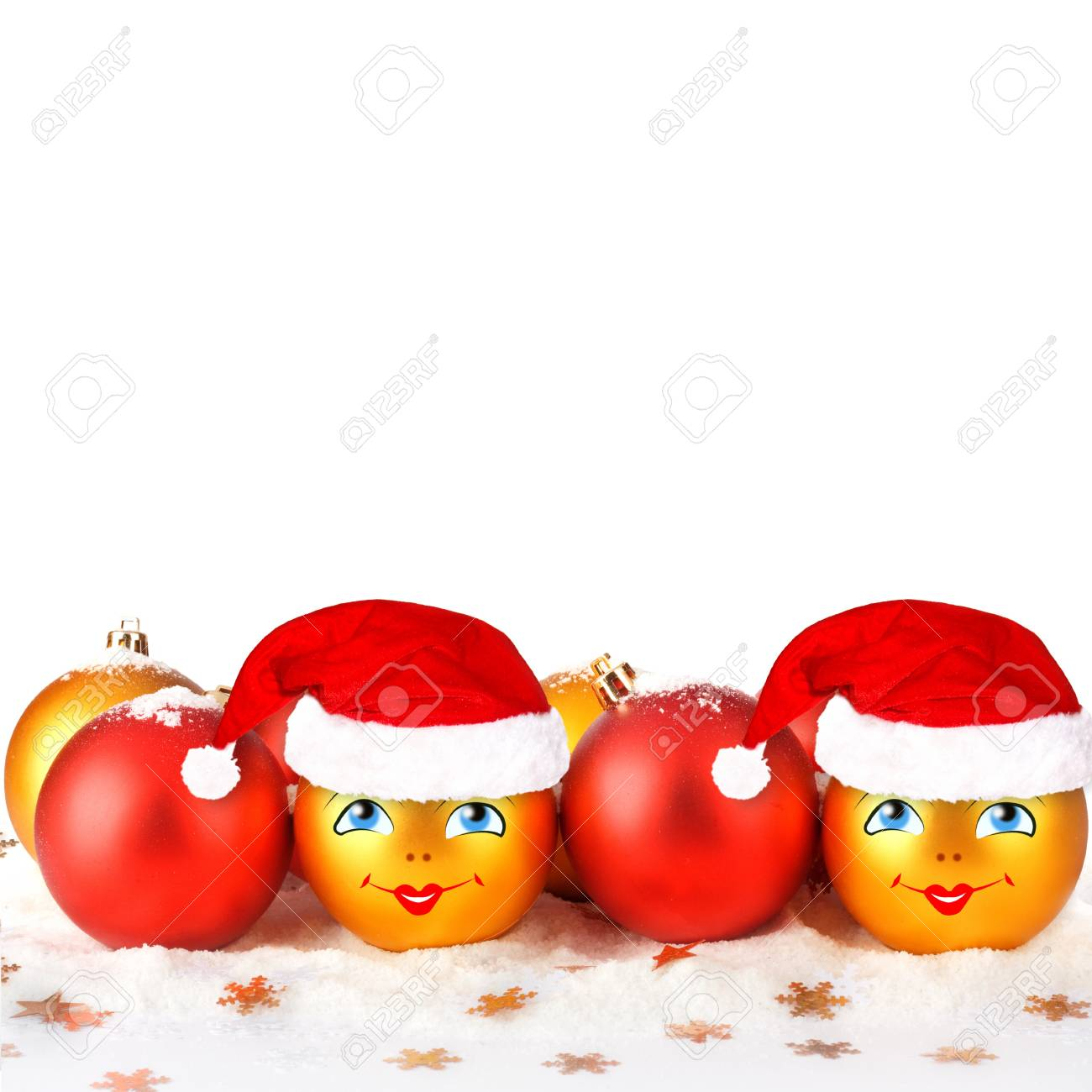 Christmas ball in the hat of Santa Claus  on the white isolated background Stock Photo - 16536198