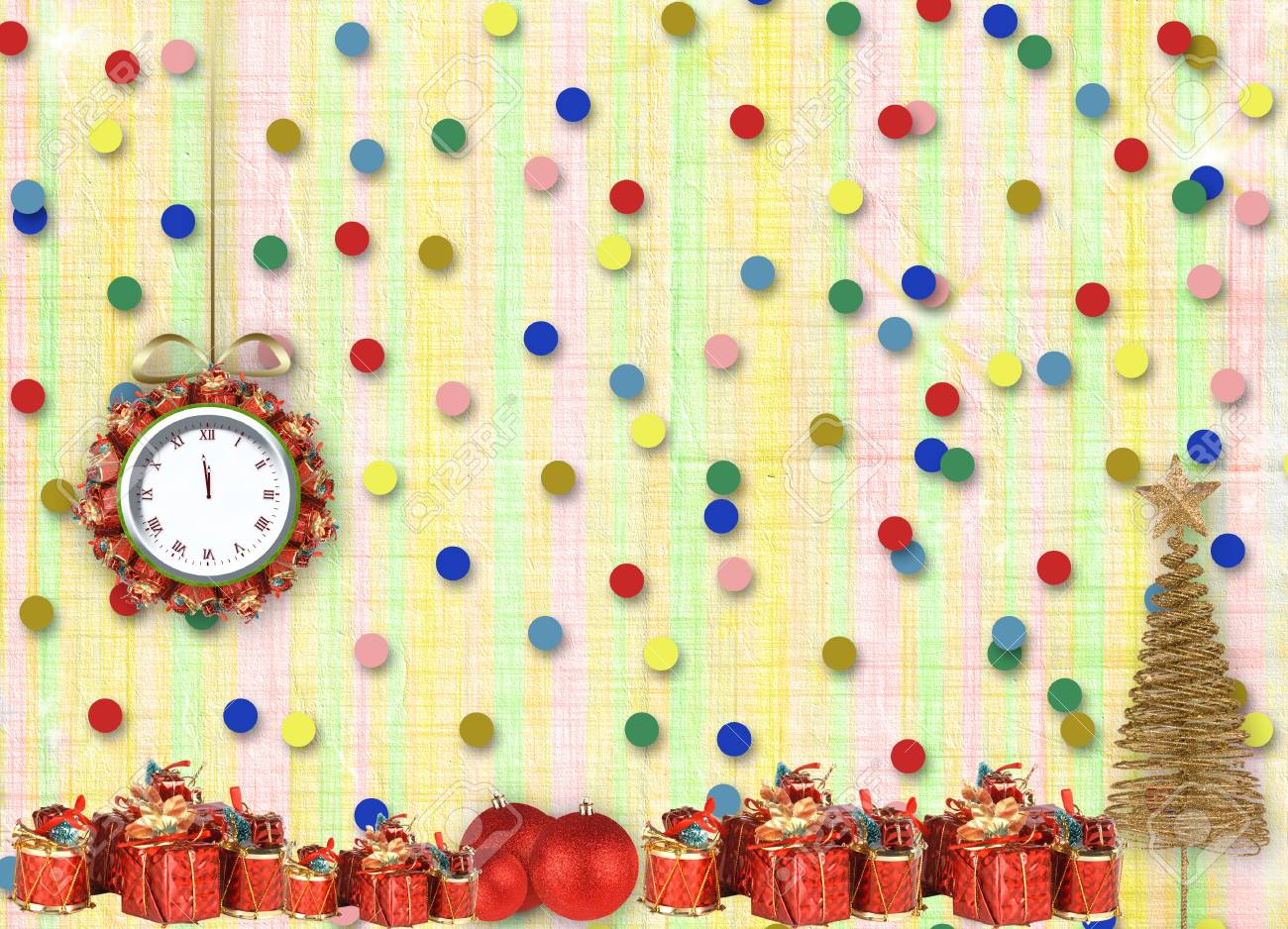Christmas gifts to the clock on the abstract background with confetti and stars Stock Photo - 16569147