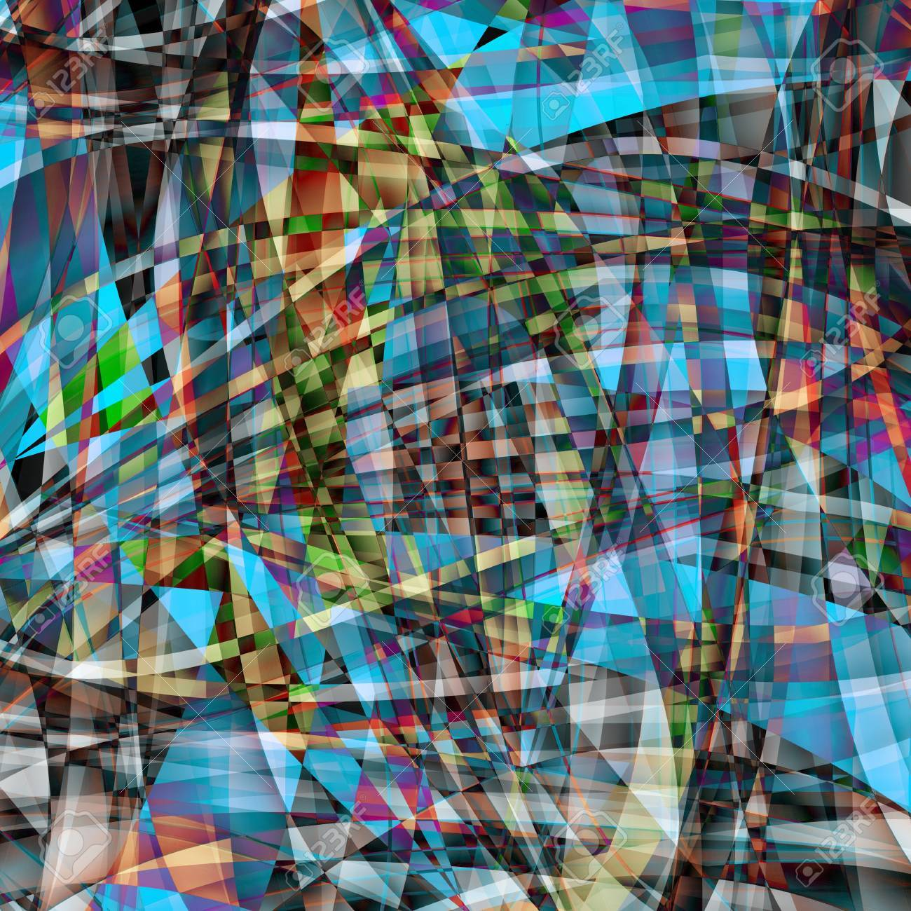 Abstract chaotic pattern with colorful translucent curved lines Stock Photo - 17525028