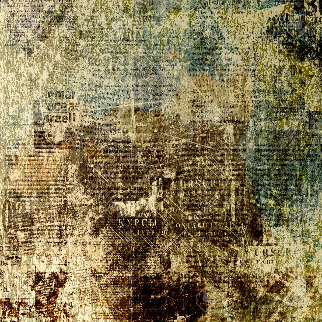 grunge abstract newspaper background for design with old torn