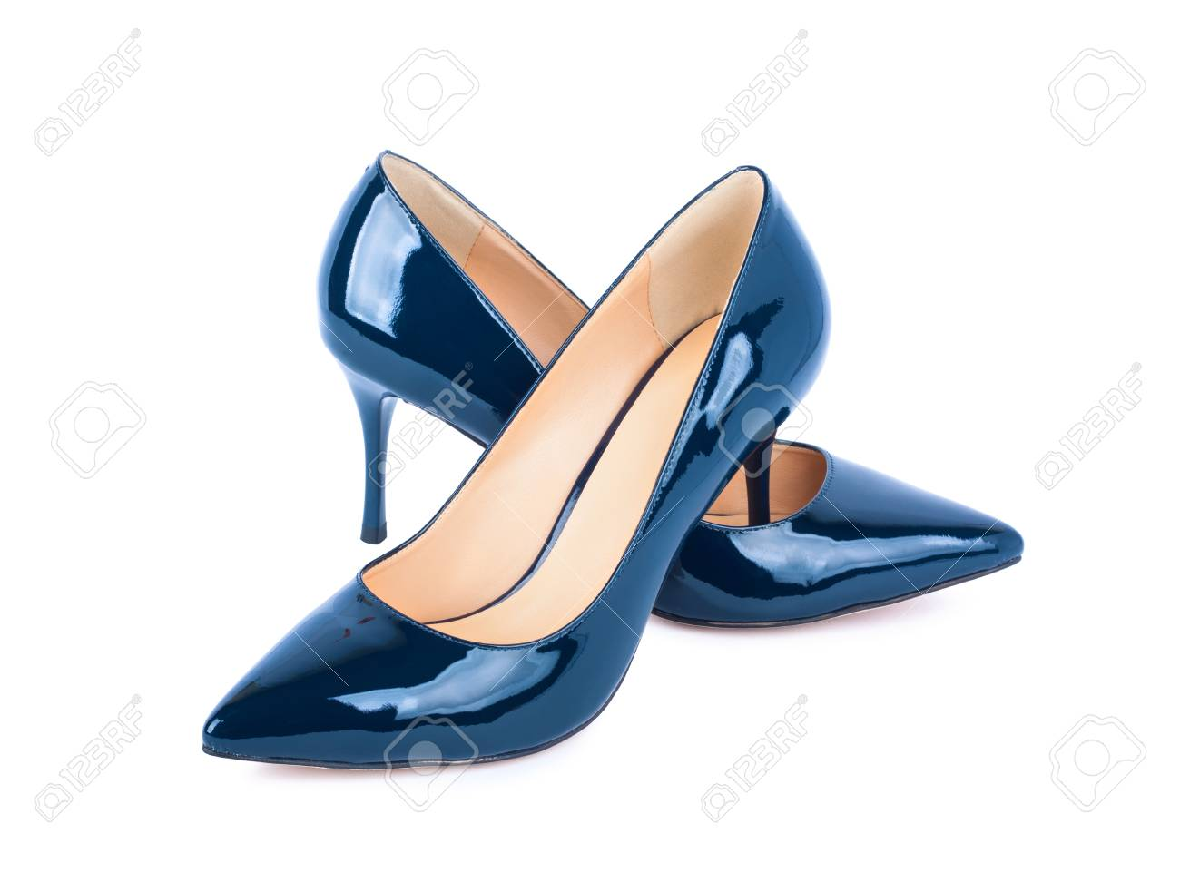 0ce3282e484 Beautiful blue classic women shoes isolated on white background