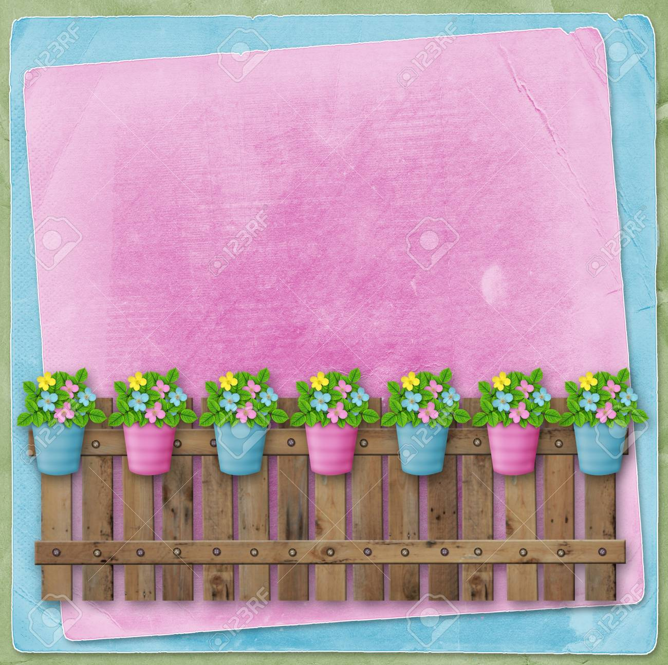 Beautiful Summer Flowers In Pots On Fence On Background Of Abstract
