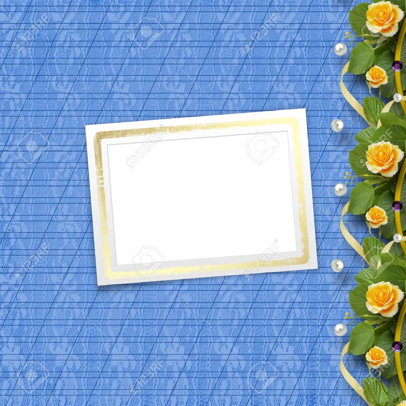 Schöne Grußkarte Mit Strauß Gelber Rosen, Bänder Und Papier Rahmen ...