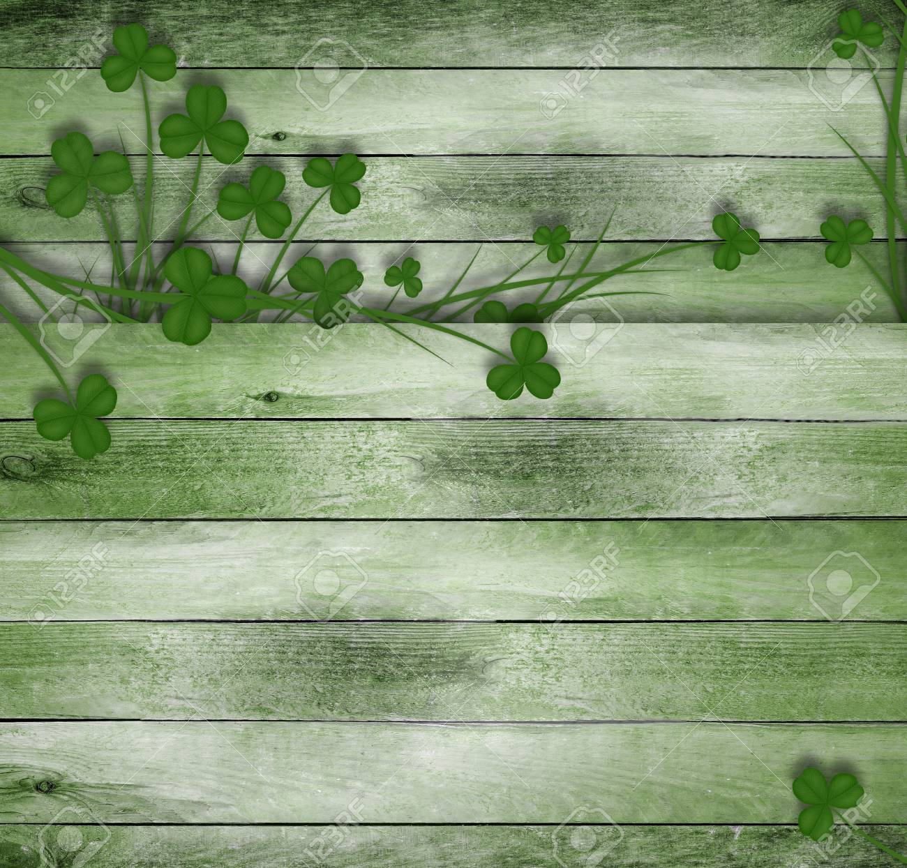 Greeting Card St Patrick On Old Wooden Background With Green