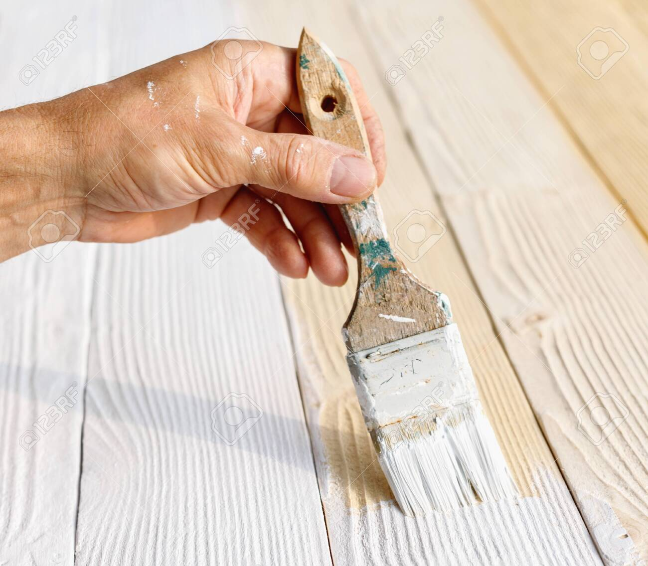 Worker Painting White Wooden Furniture Outdoor Hand With Brush Stock Photo Picture And Royalty Free Image Image 124900861