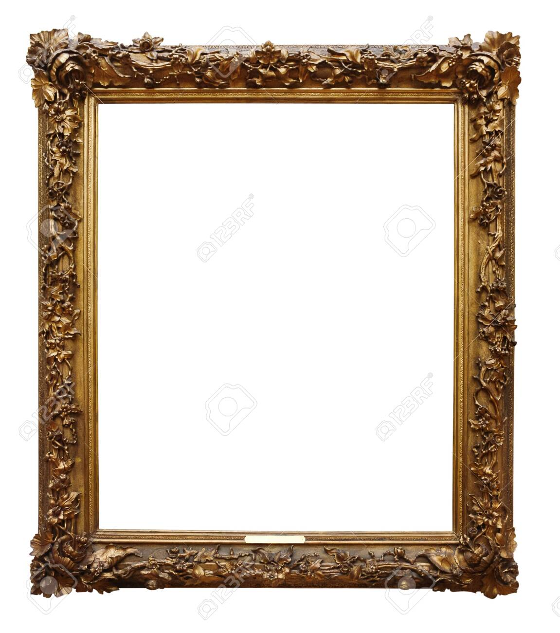 Picture gold wooden frame for design on white isolated background - 135593745