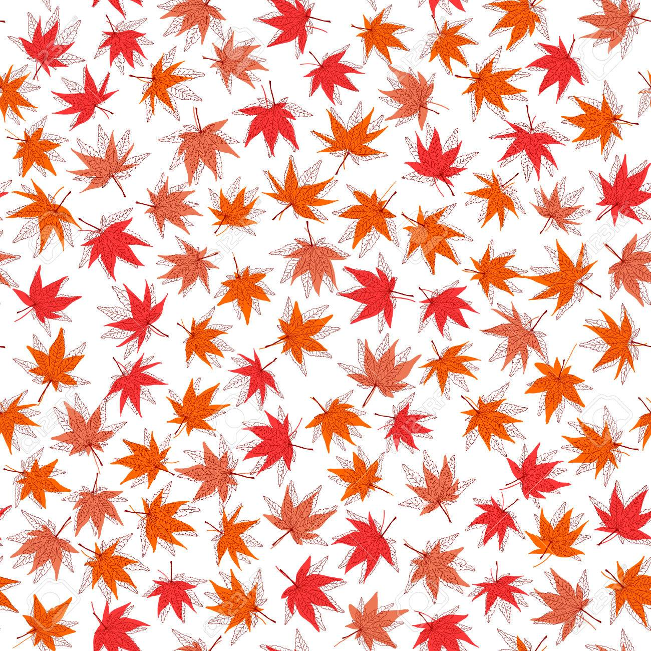 Autumn texture. Seamless pattern with momiji leaves. Fall texture...