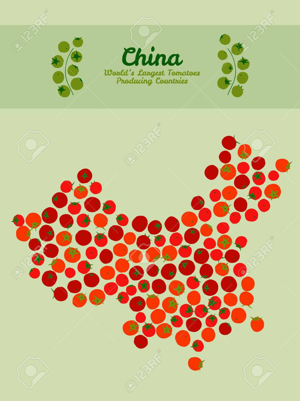China Map Poster.Illustration Map Of China Made Out Of Red Tomatoes Vegetarian