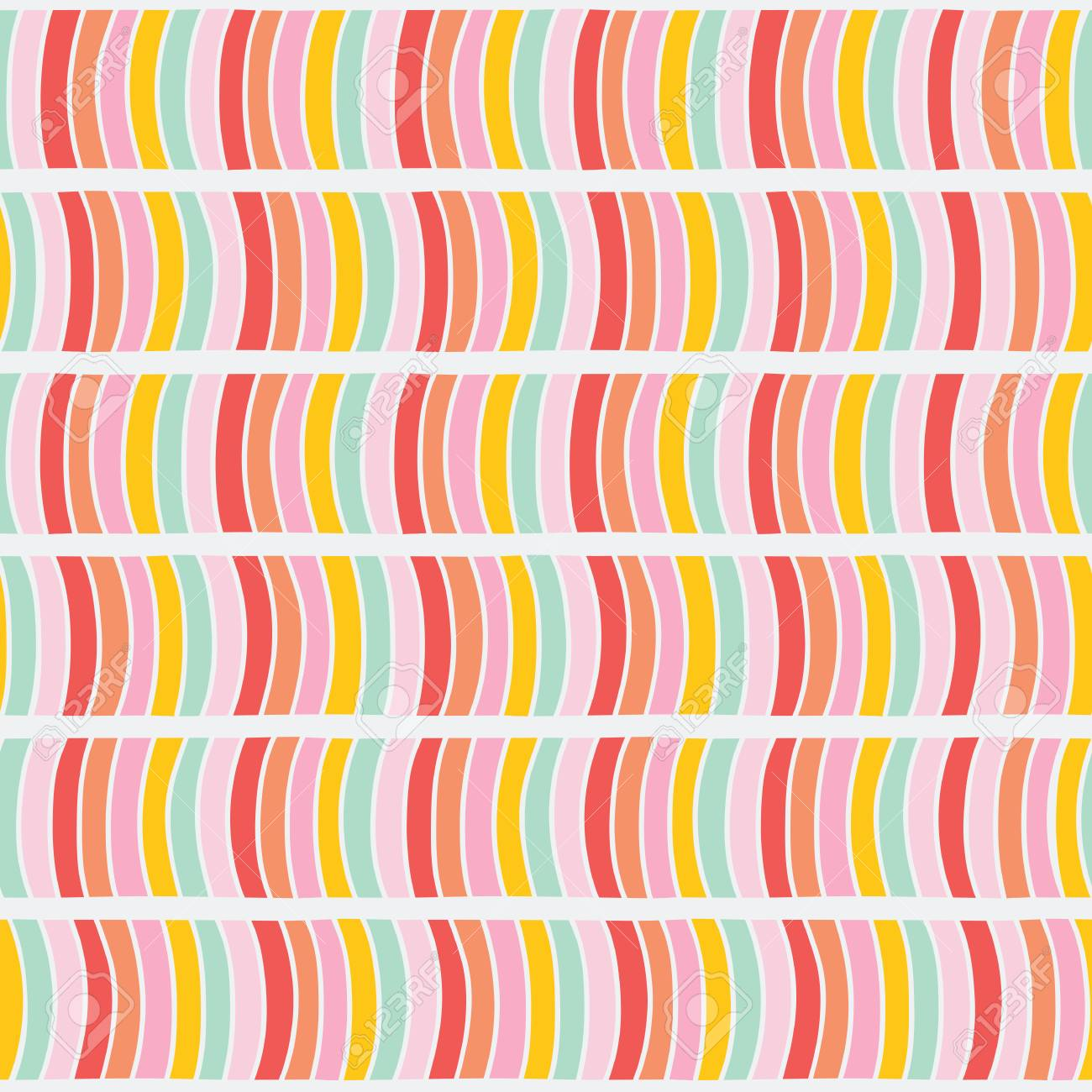 Abstract Wavy Pattern Seamless Background Bright Pastel Colors Plain Backdrop For Decoration Or