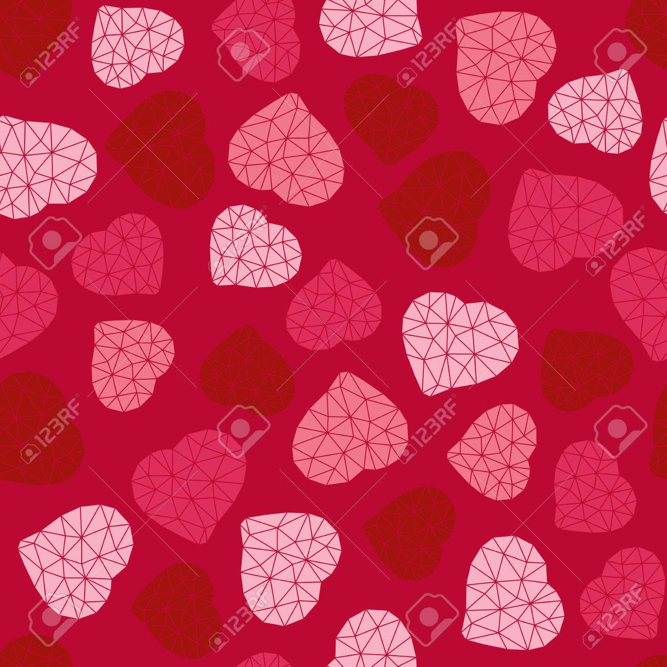Fondo Del Día De San Valentín. Poligonal De Bajo Poli. Patrón Sin ...