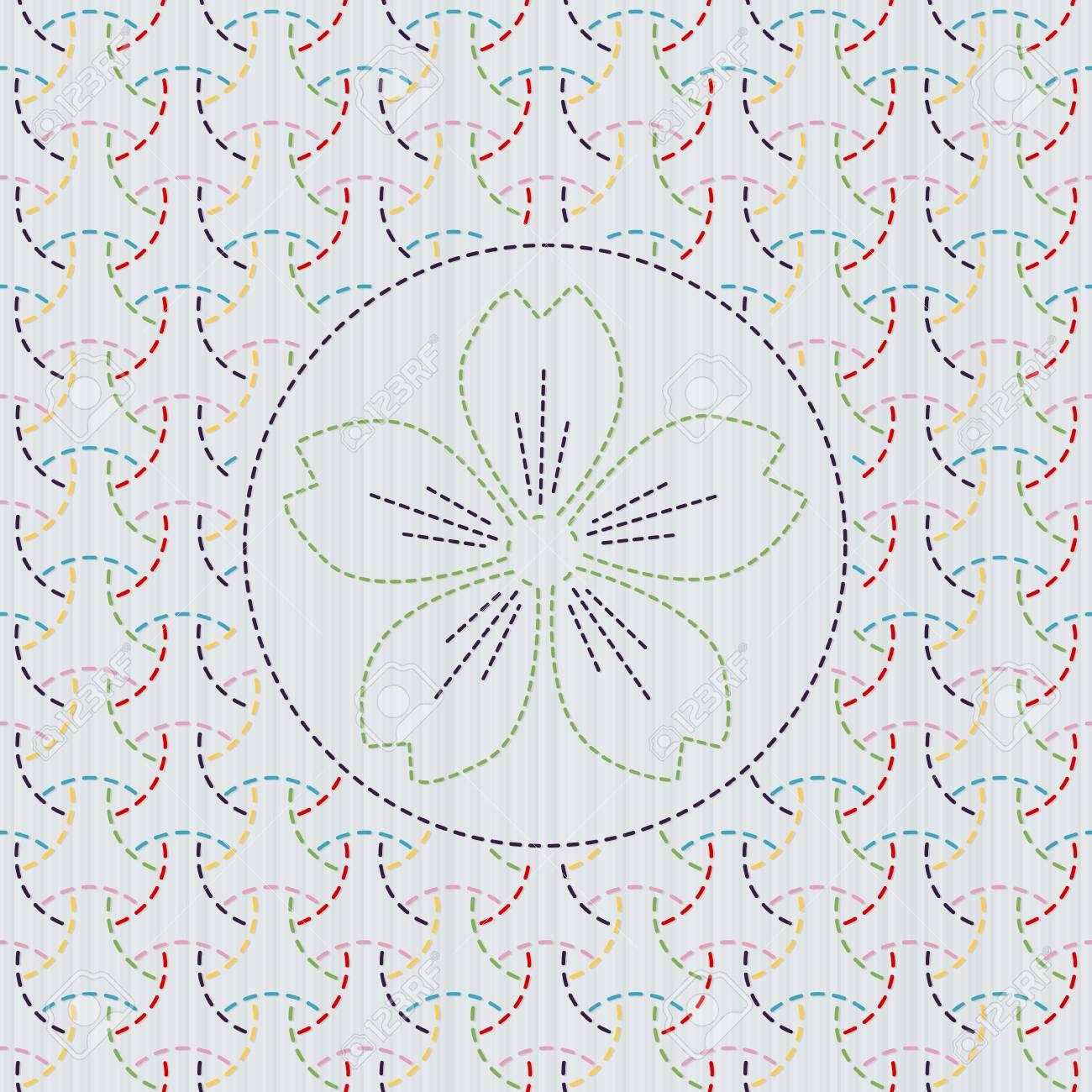 La Costura Tradicional Japonés. Sashiko. Resumen Telón De Fondo ...