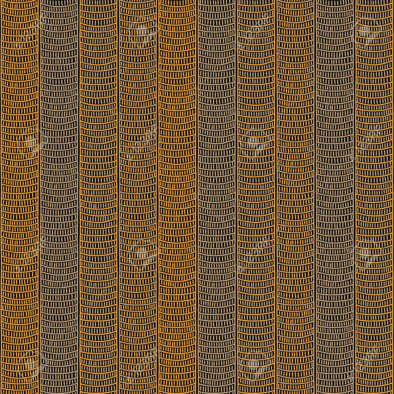 Traditional African Ornamental Pattern Stylized Seamless Texture With Waves Dark Orange For