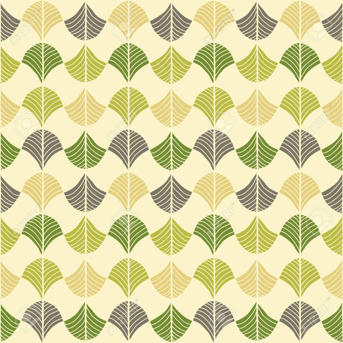 Abstract Pattern Based On A Traditional African Ornament Bright Green And Brown Seamless Vector