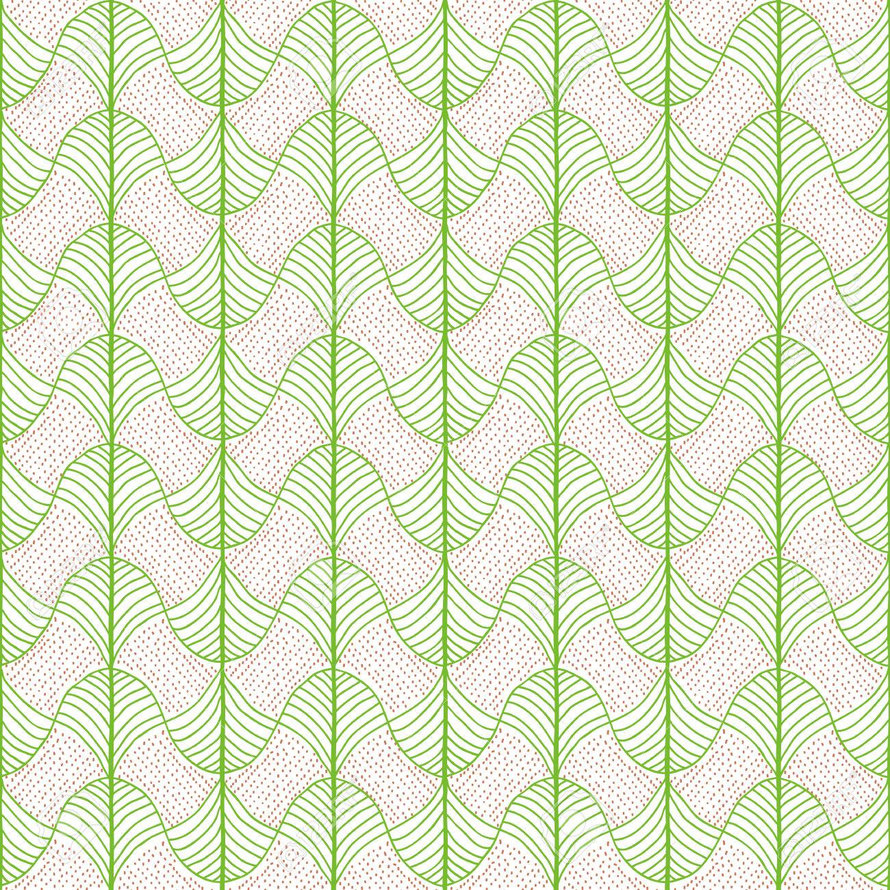 Abstract Pattern Based On A Traditional African Ornament Bright Green And Orange Seamless Vector