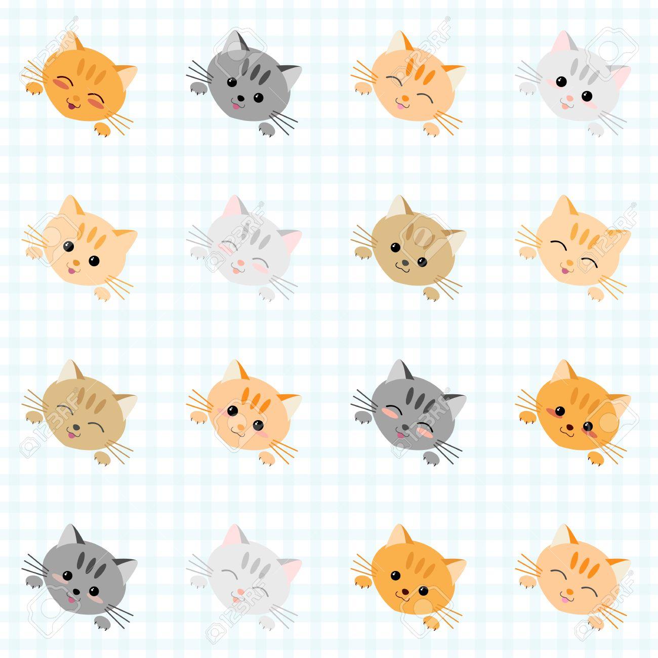 Seamless illustration with cute cats. Japanese manga style. Kawaii joyful cats. Kitten background