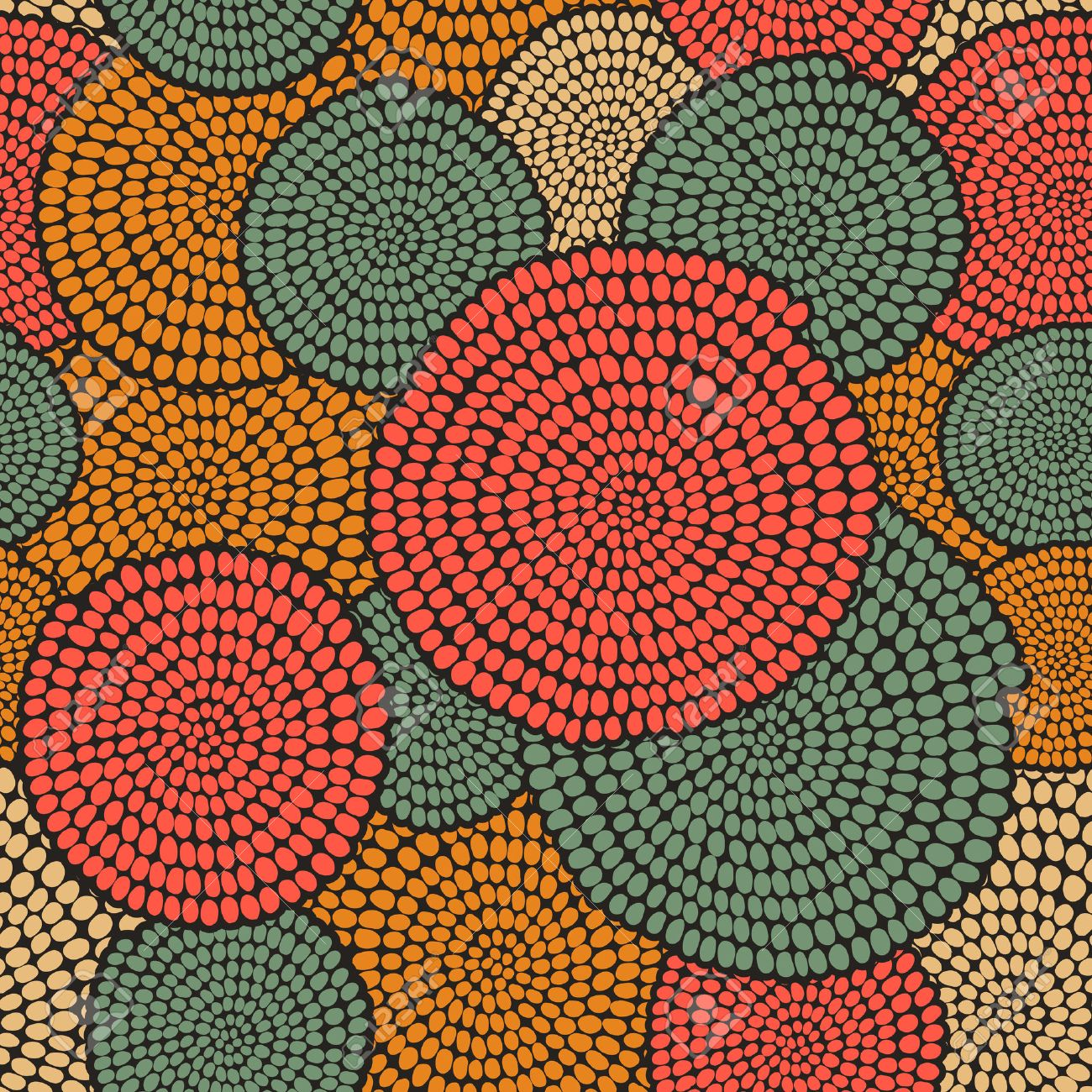 Hand drawn Traditional African Ornament. Stylized texture with arcs and circles. Plain warm background for decoration or backdrop. - 53916722