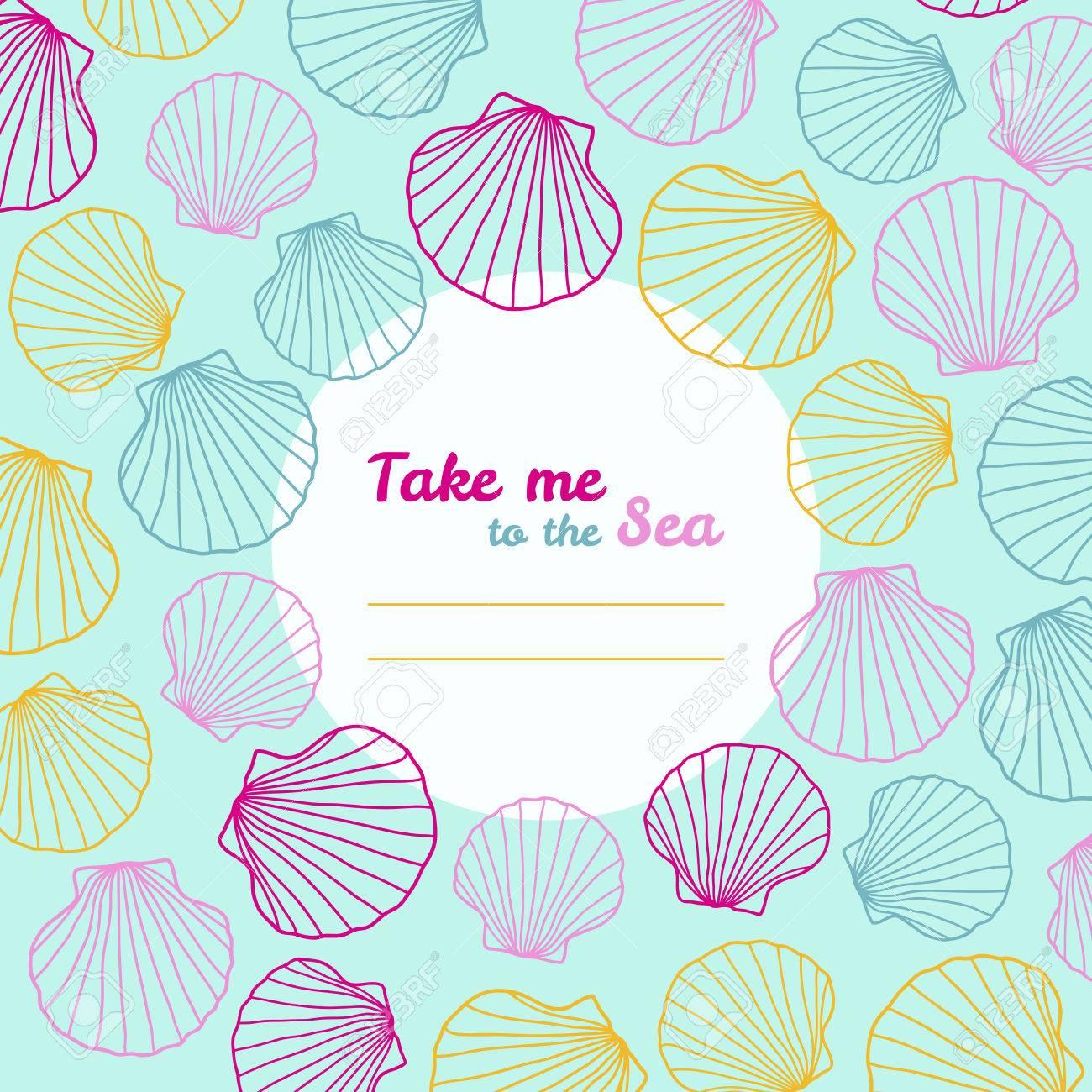 Ir A La Mar\' Invitación. Espacio De La Copia. Ilustración Vectorial ...