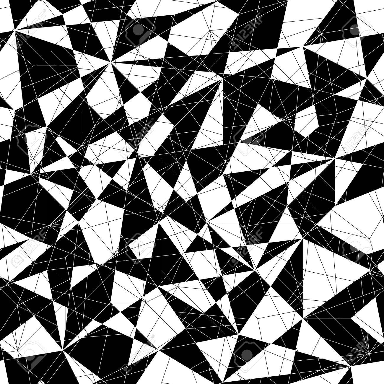 Abstract mosaic pattern with triangles. Seamless vector. Stylized texture with black and white lines and triangles. - 54933573