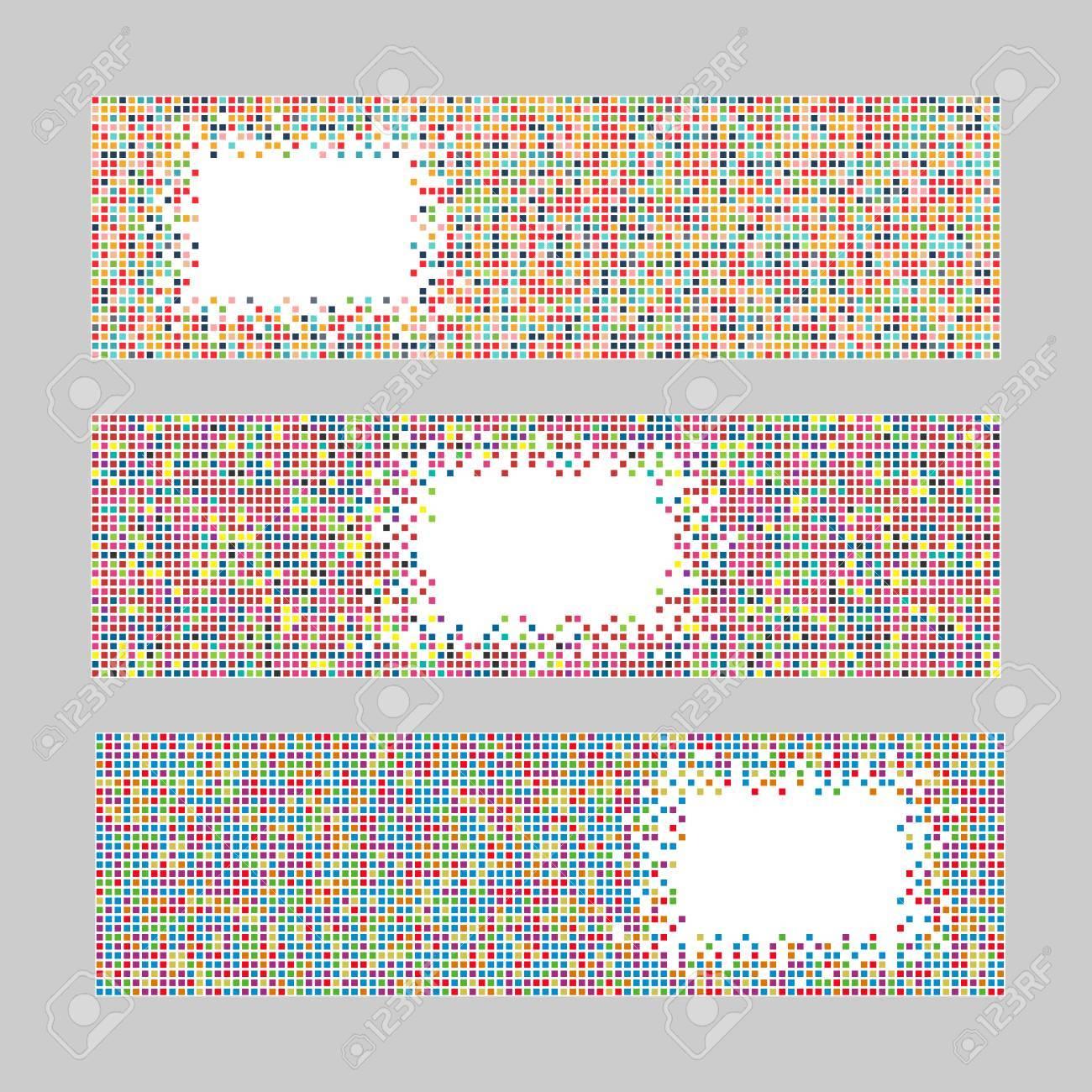 Set Von Horizontalen Pixel Banner. Abstrakte Geometrische Vorlage ...