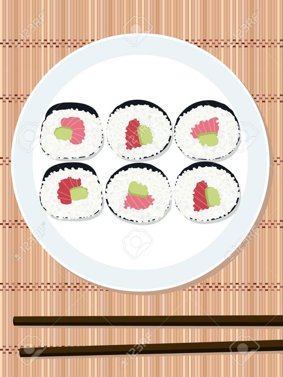 Sushi-Rolle-Set Mit Lachs Und Avocado-Füllung Auf Der Runden Platte ...