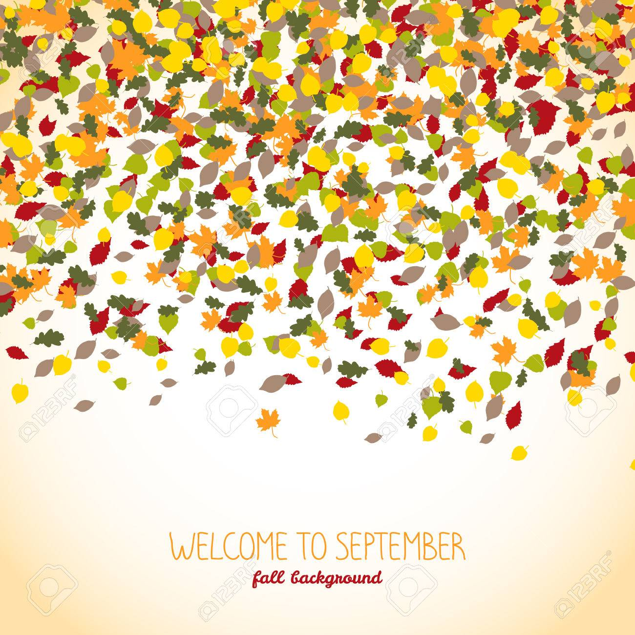 welcome to september autumn banner falling leaves warm background