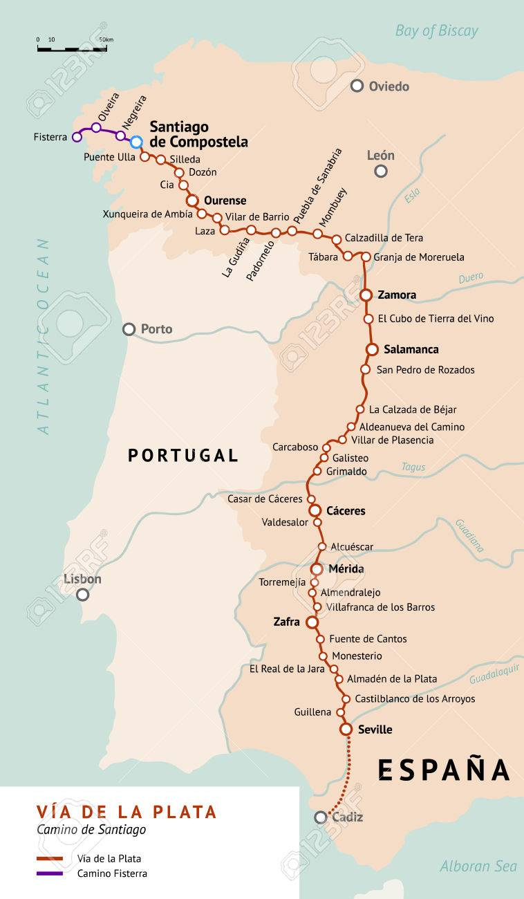 Jakobsweg Spanien Karte.Stock Photo