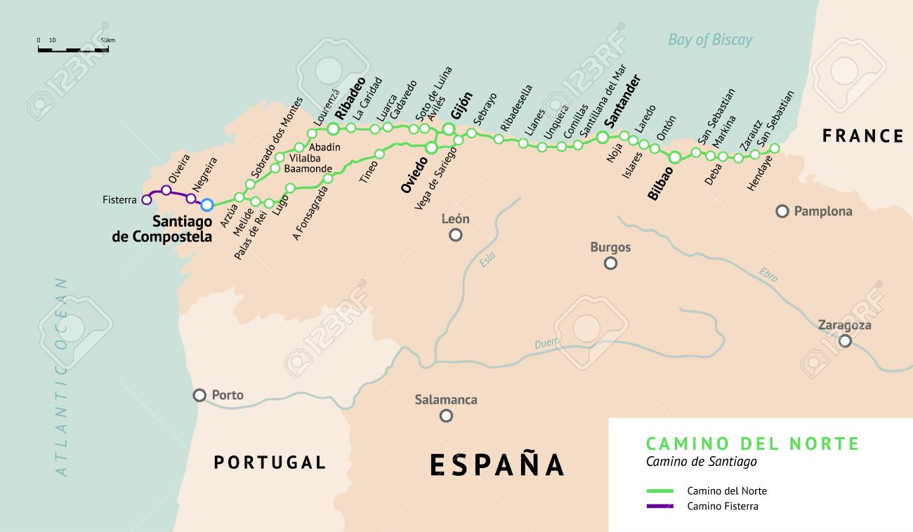 Camino Walk Spain Map.Camino Del Norte Map Camino De Santiago Or The Way Of St James