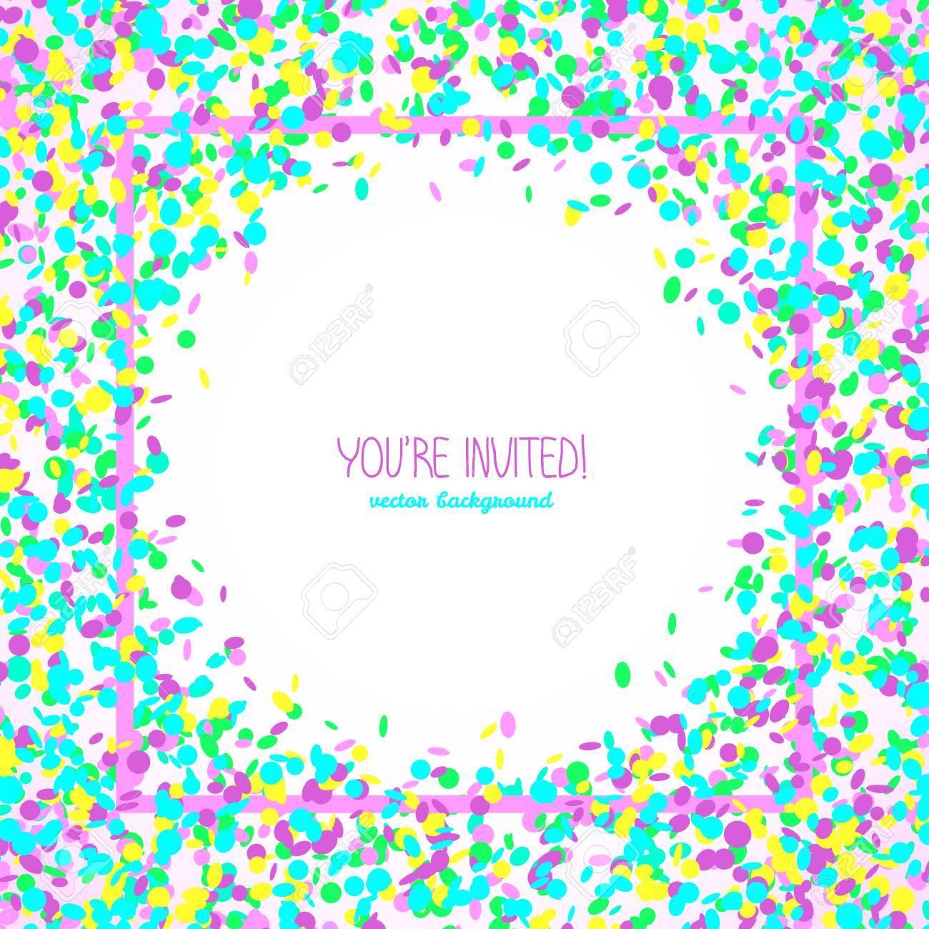 Estás Invitado Tarjeta Del Partido O Banner Marco De Texto Cuadrada Hecha De Confeti De Colores Fondo Blanco Con Espacio De Copia Tarjeta
