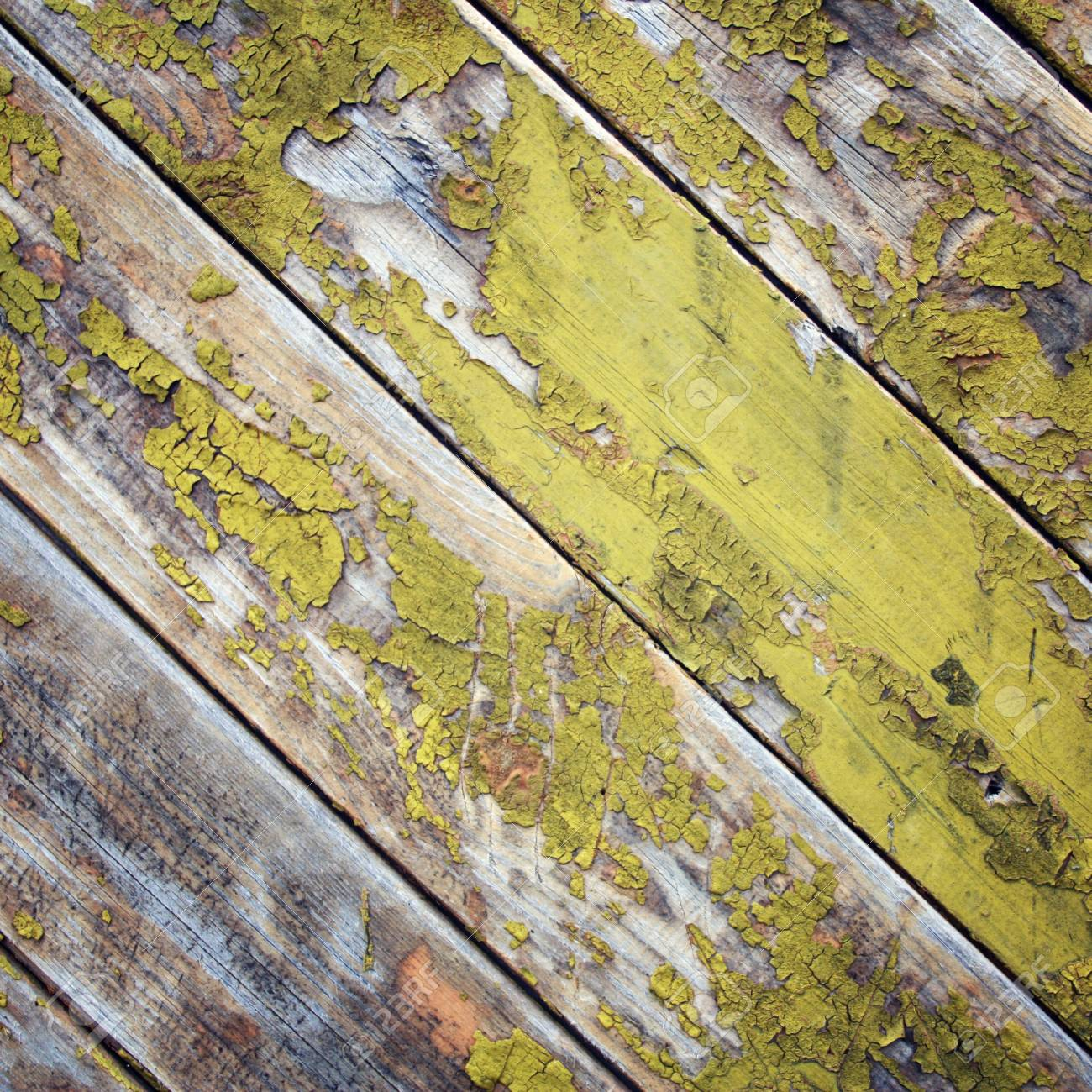 Dry Yellow Paint On The Wooden Surface. Peeling. Cracked Texture ...