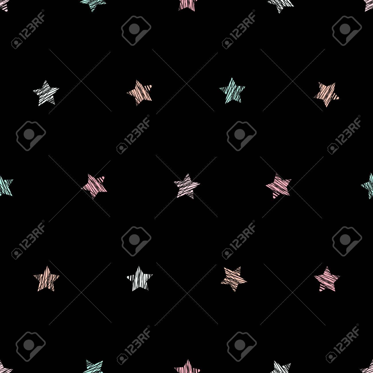 Star Texture Plain Seamless Pattern Black Background Pale