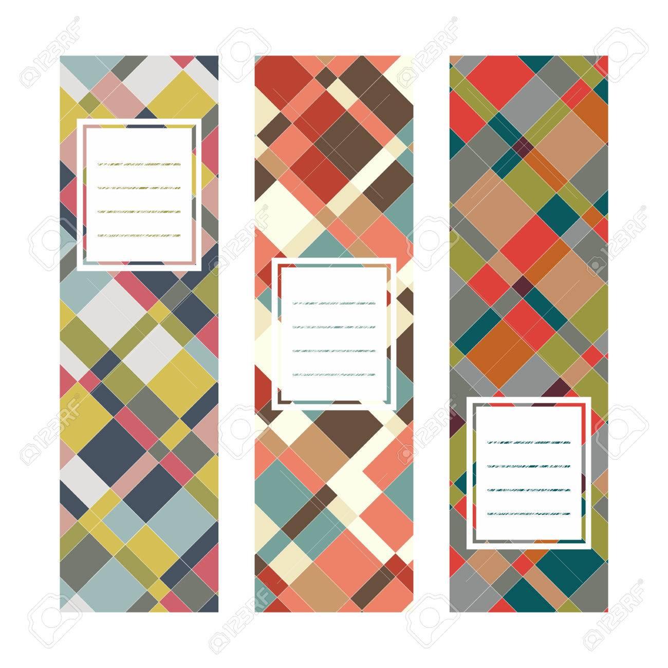 Set Abstrakte Vertikale Fahnen. Textrahmen. Diagonale Reihe. Warme ...