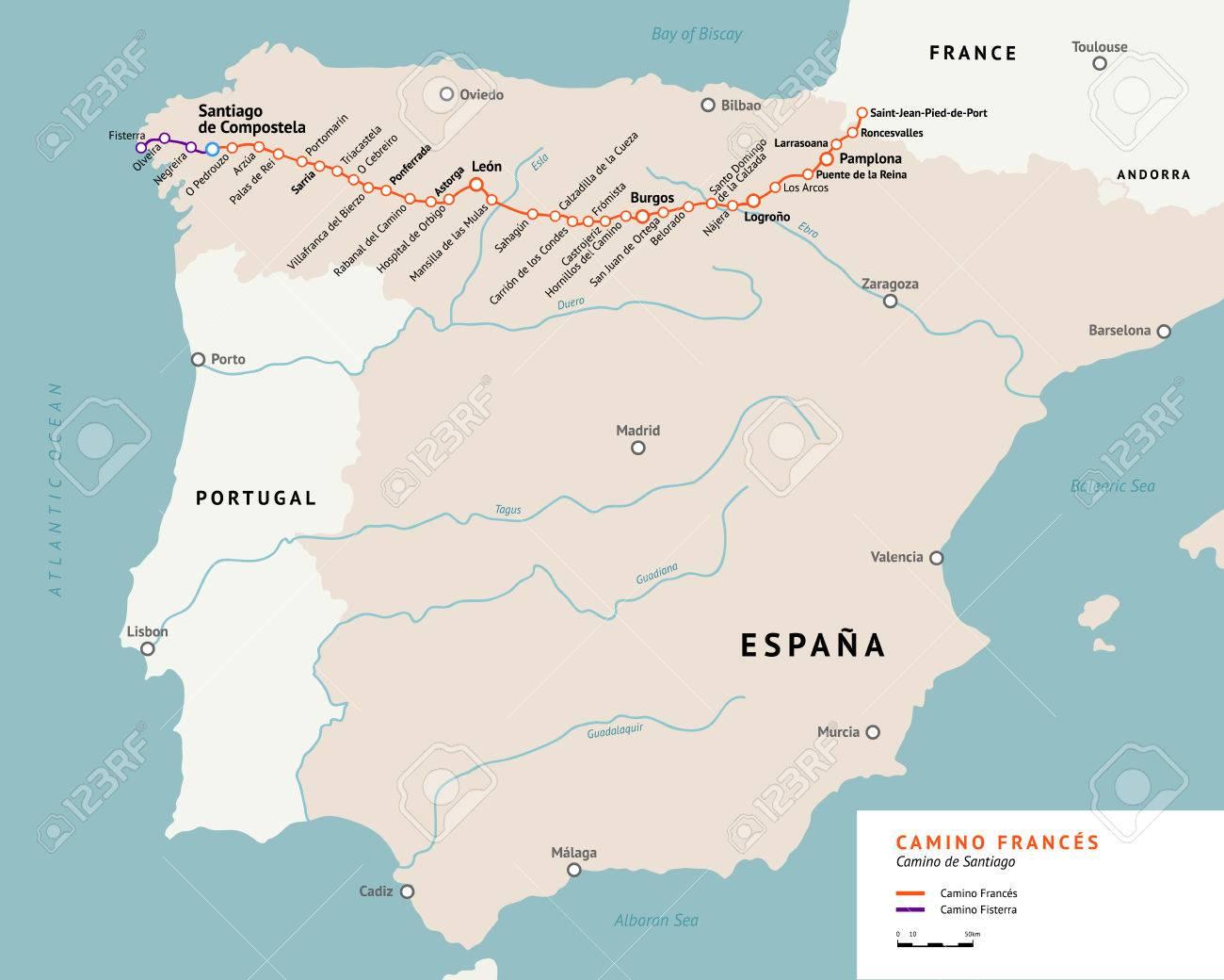 Jakobsweg Frankreich Spanien Karte.Stock Photo
