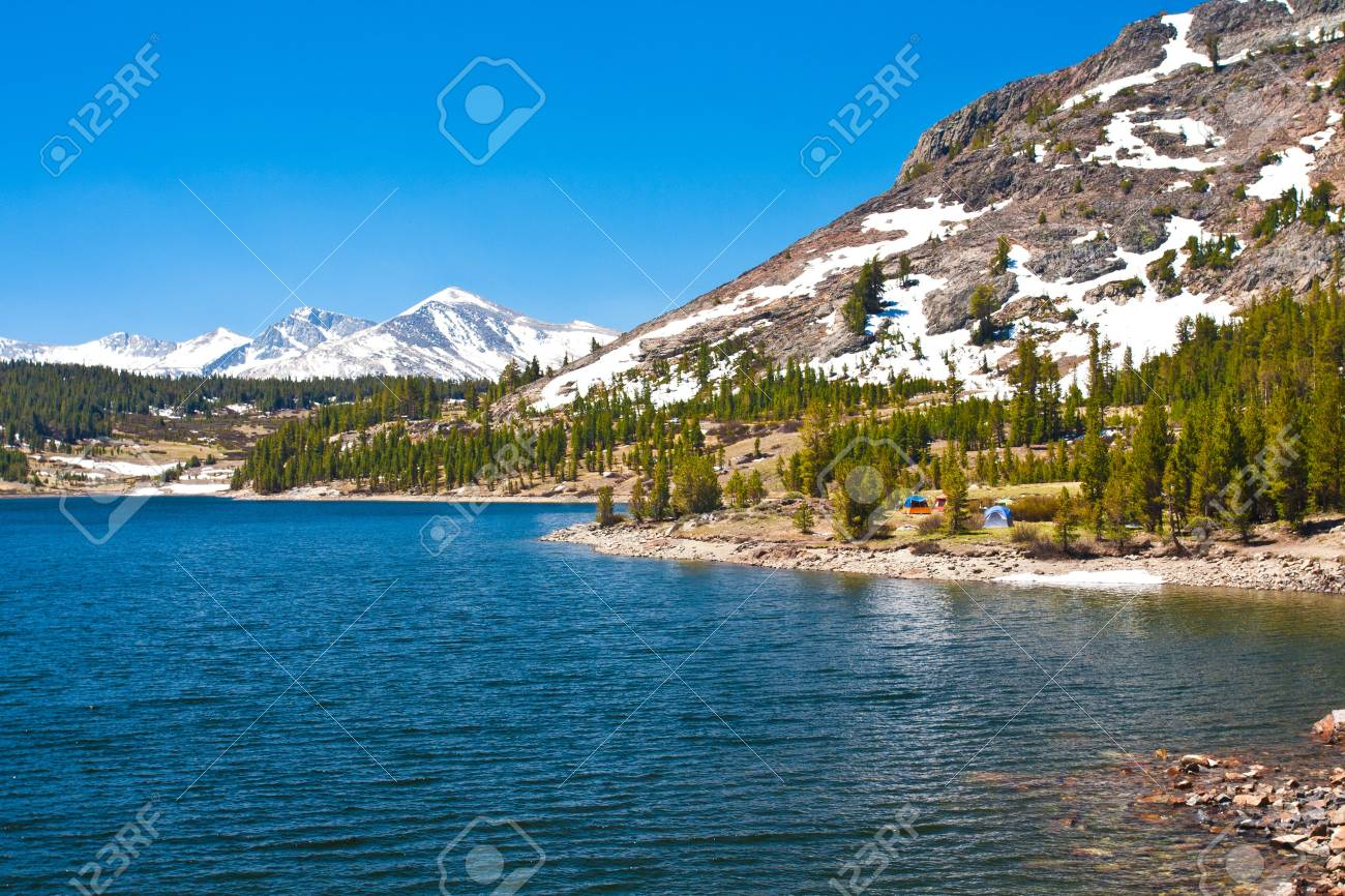 Snow-capped Mountains and Lake in Yosemite National Park,California - 20138939