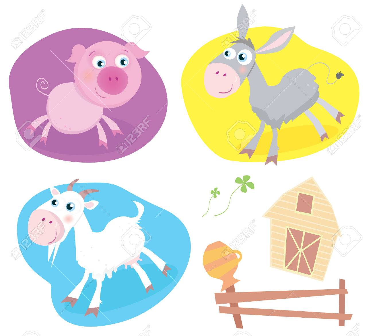 Farm animal pack � pig, goat, donkey. Funny baby animals. Includes also Farmhouse, fence and four-leaf clover. Vector Illustration. Stock Vector - 4696691