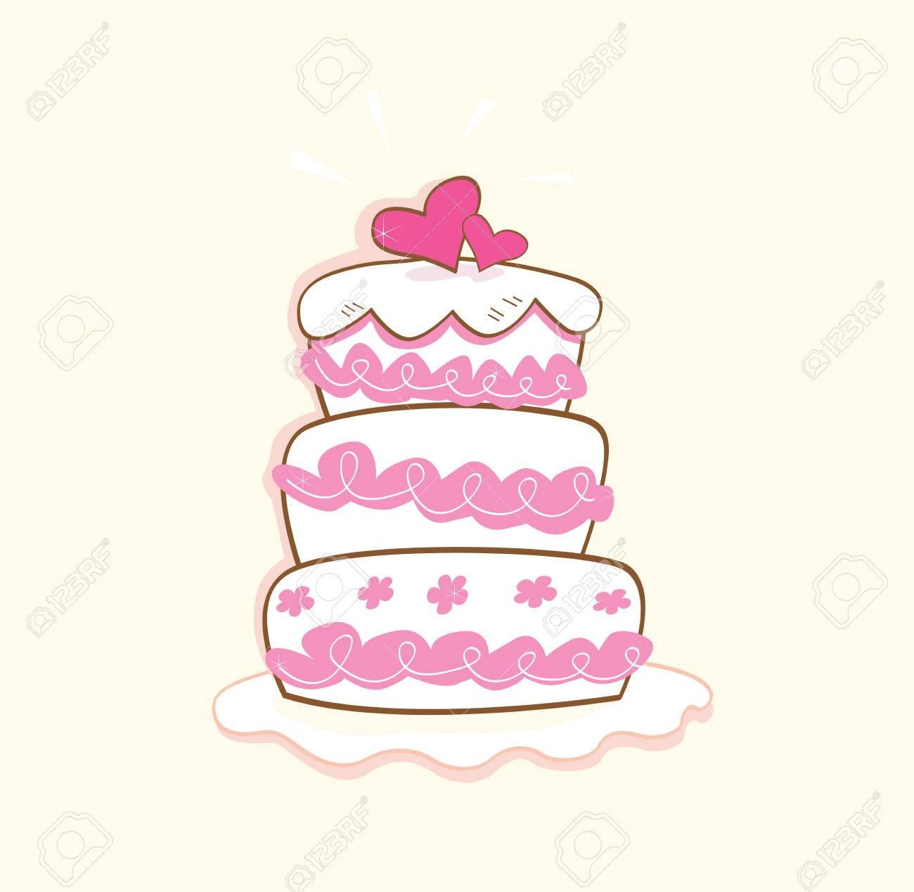 Wedding Cake. Pink Decorative Sweet Cake. May Be Used On Wedding ...