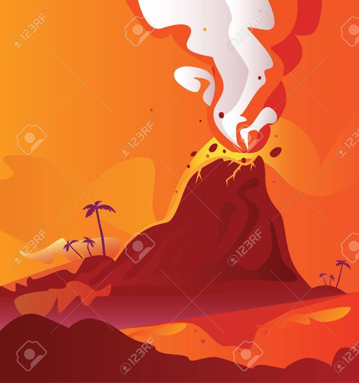 Volcano with burning lava. Vector Illustration of volcano eruption. Stock Vector - 4903090