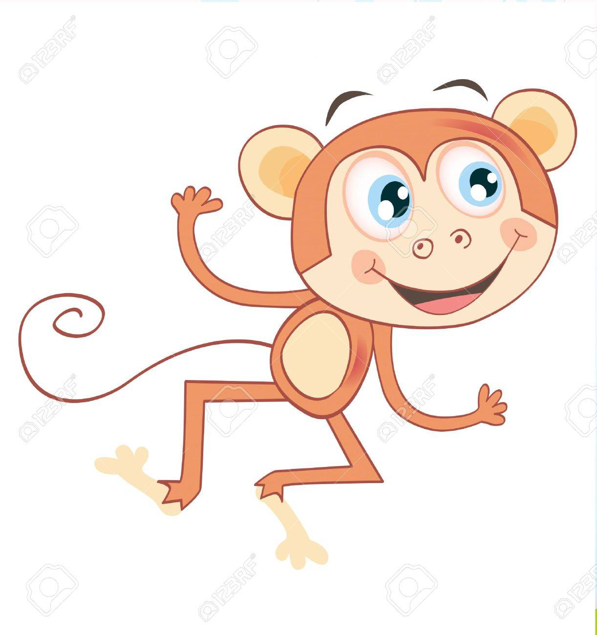 Monkey Isolated On White Background Funny Jumping Animal Vector