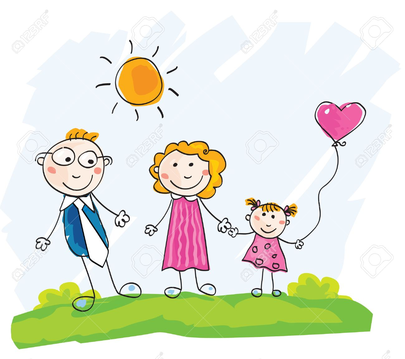 Doodle happy family. Mother, father and child on green meadow. Vector Illustration. See similar pictures in my portfolio! Stock Vector - 5048402