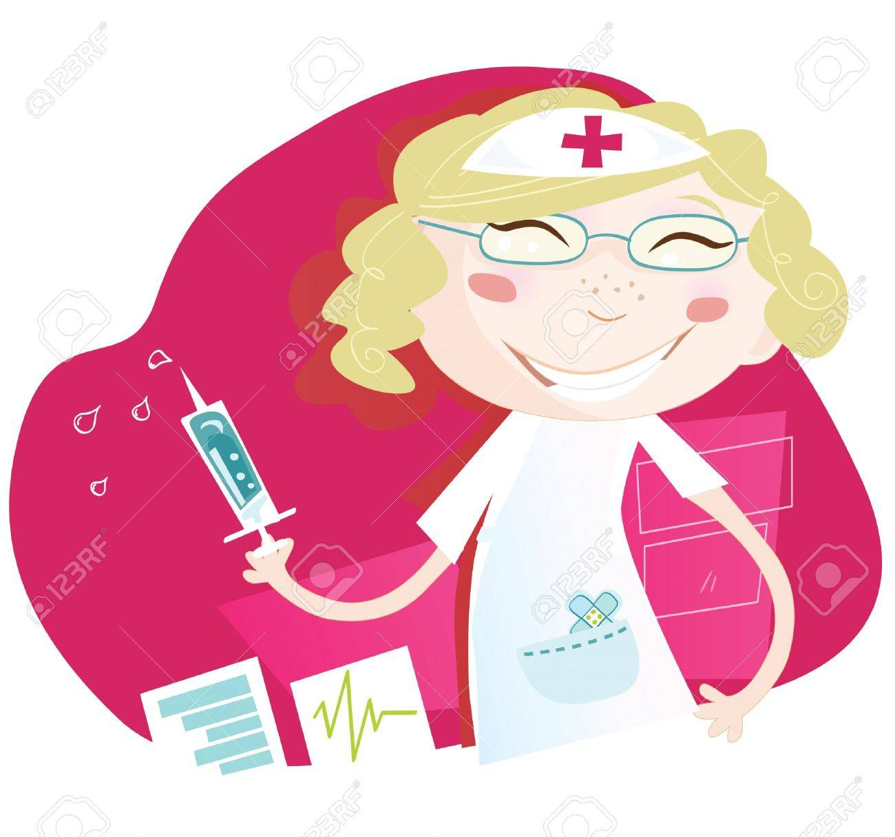 Hospital nurse. Attractive nurse with smile help every patient Art vector Illustration. See similar pictures in my portfolio! Stock Vector - 5048403