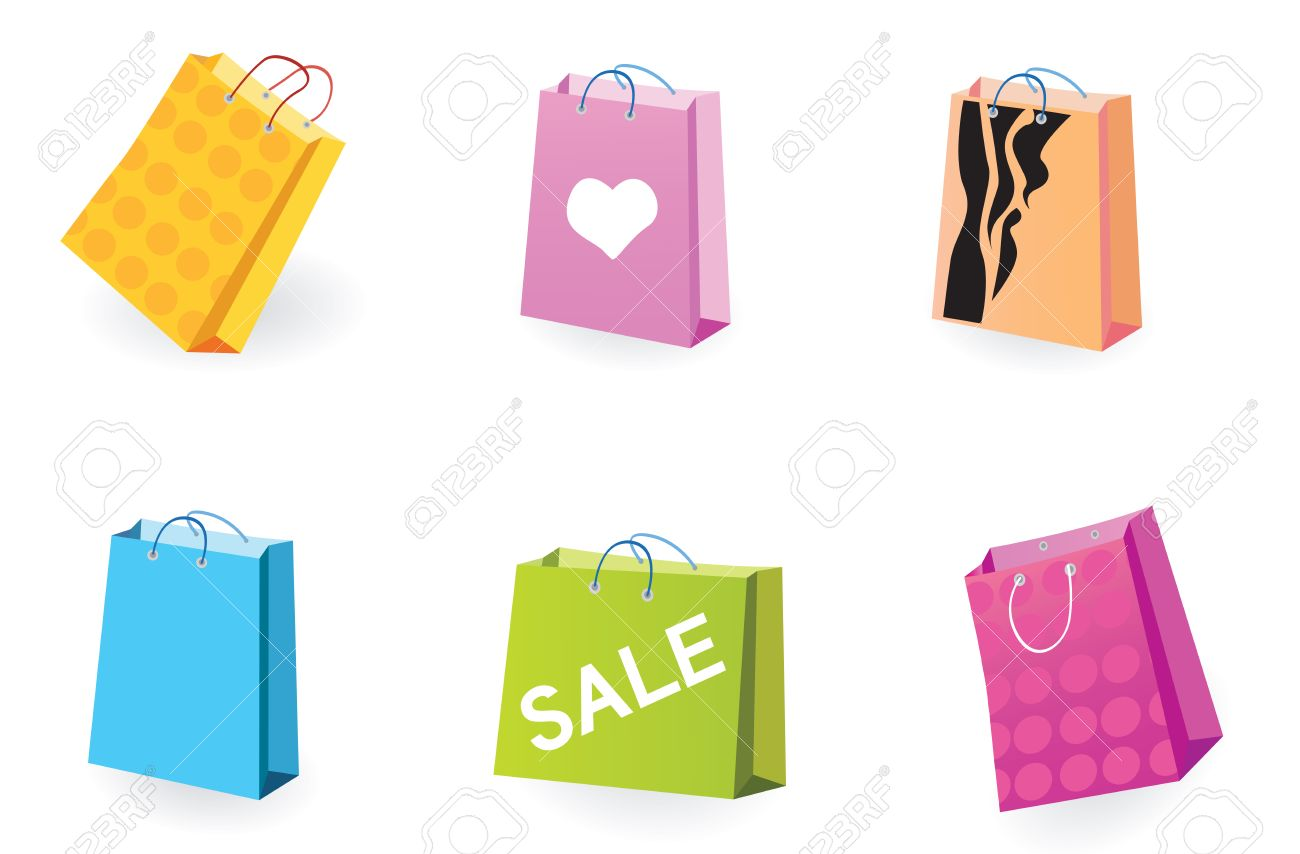 Designer Shopping bags icons. Vector pack of shopping bag set for eshop or magazines. Stock Vector - 5242141