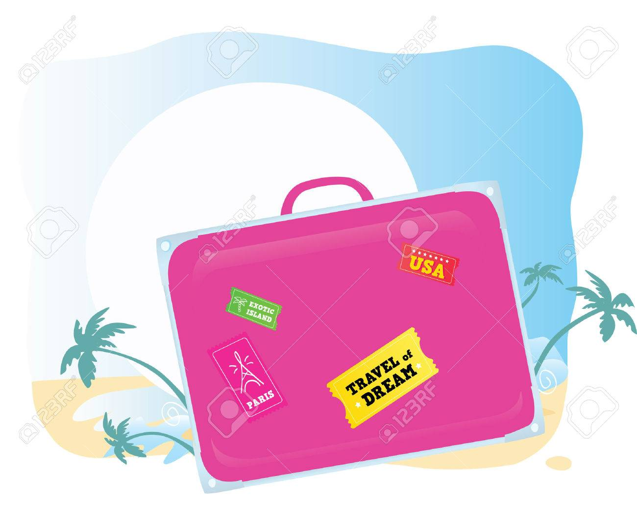 Luggage. Going to exotic vacation! Vector suitcase � you should easy to change color and size. Stock Vector - 5242143