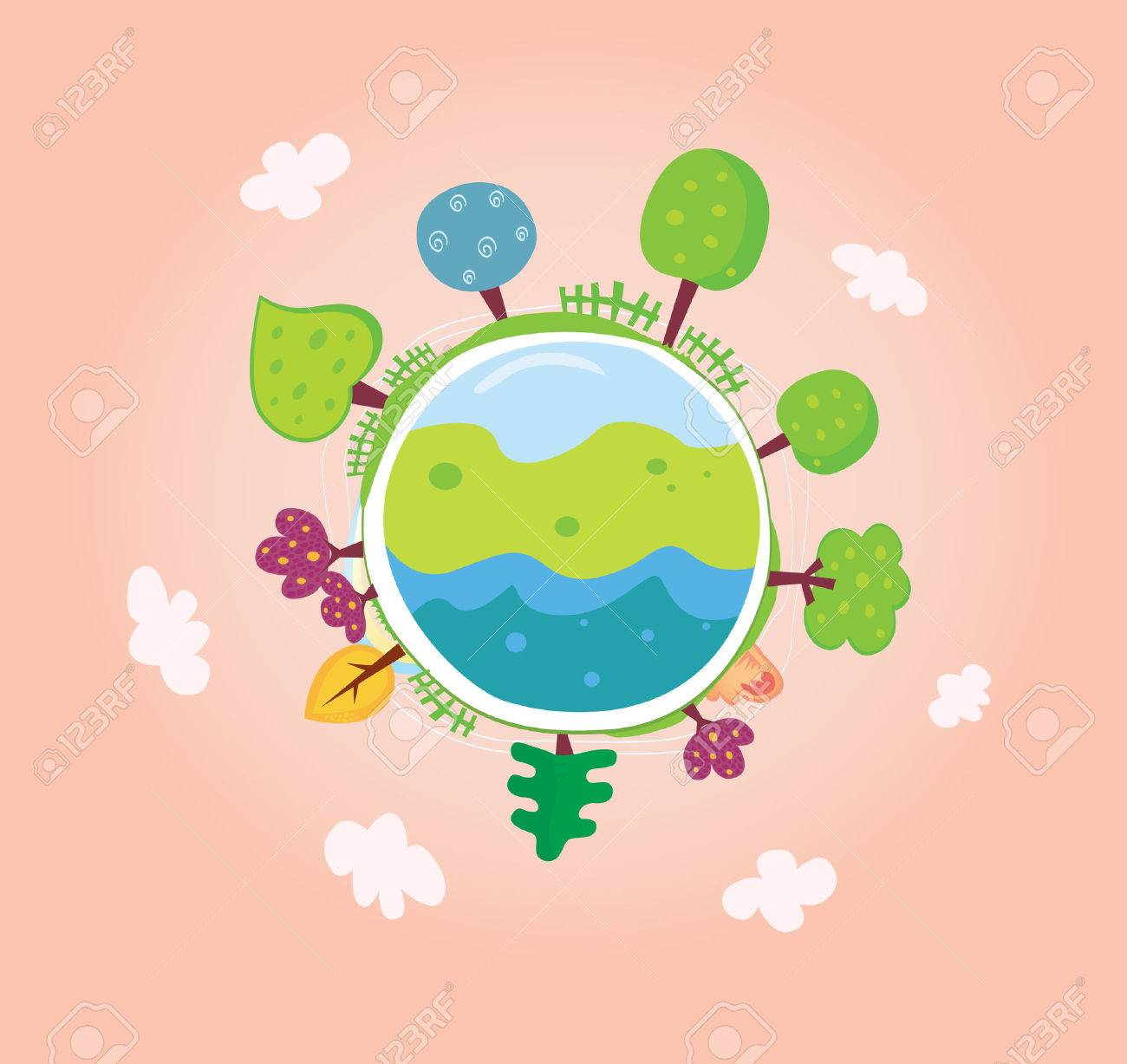 Green planet. We are going to rescue our planet! More trees everywhere. Green globe, VECTOR. Stock Vector - 5255269