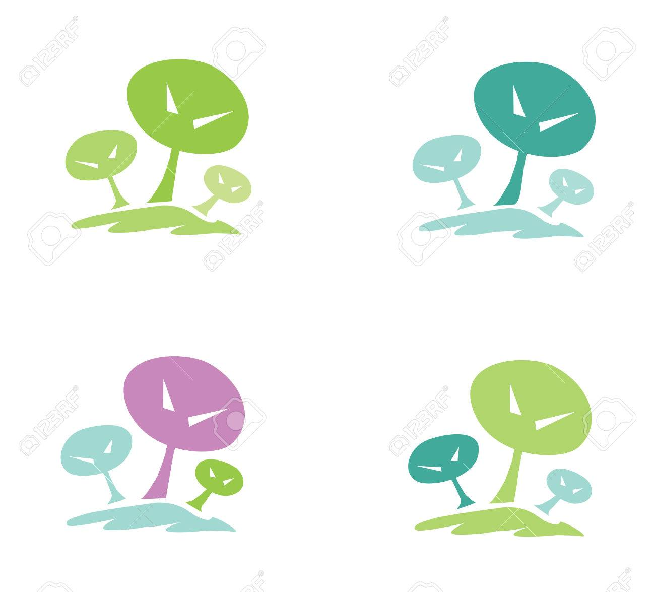 Trees pictogram. In 4 color variants. Vector illustration. Stock Vector - 5531818
