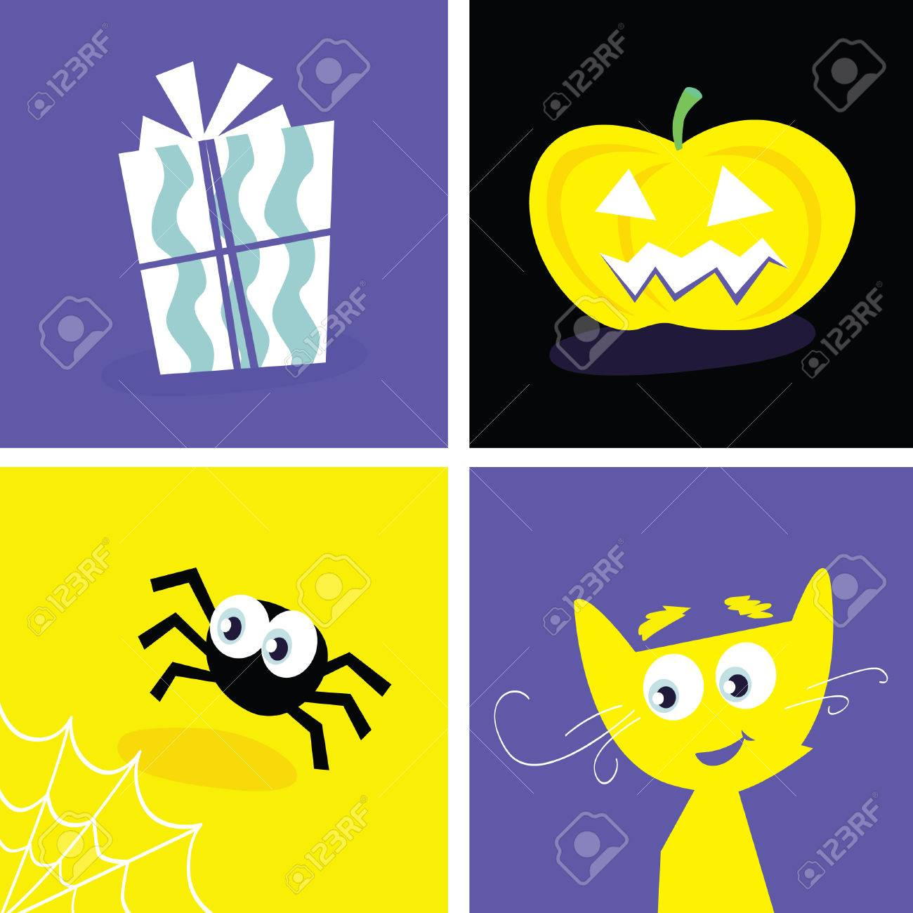 Halloween retro icons. Halloween vector Iconset. Series included symbols of halloween present, cat, pumpkin head and spider. Stock Vector - 5612323