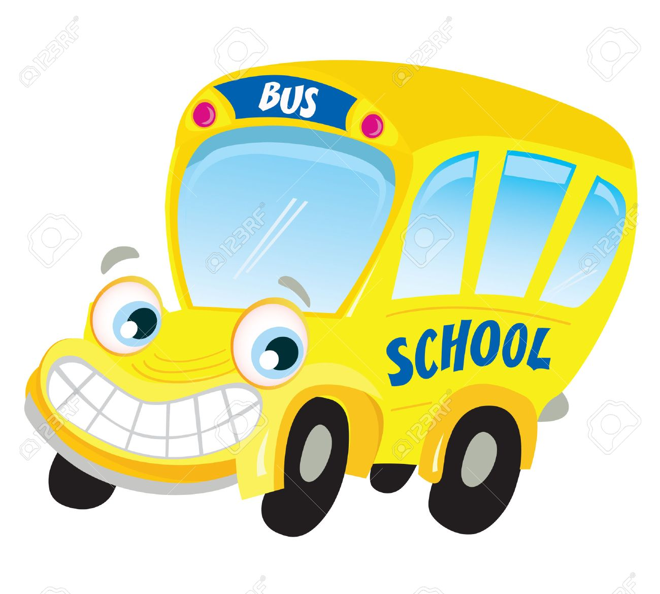 Isolated yellow school bus. Funny yellow school bus isolated on white background. Vector Illustration. Stock Vector - 5661998