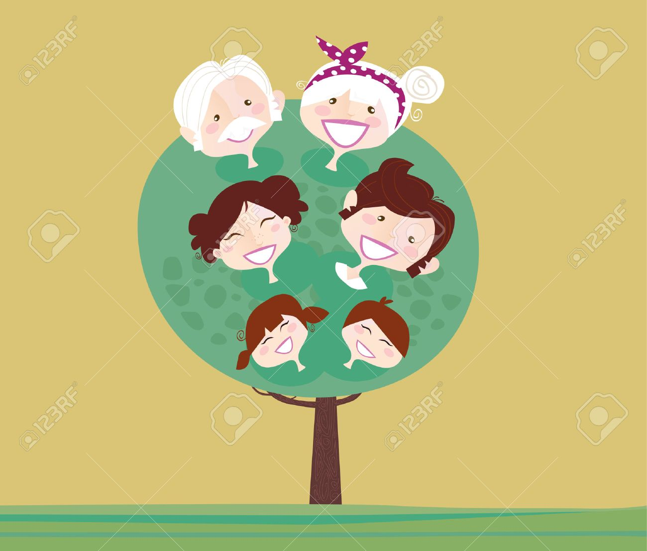 Larger preview vector clip art of a happy yellow coffee cup character - Old Age Big Family Generation Tree Family Relationship Tree Grandmother Grandfather Mother