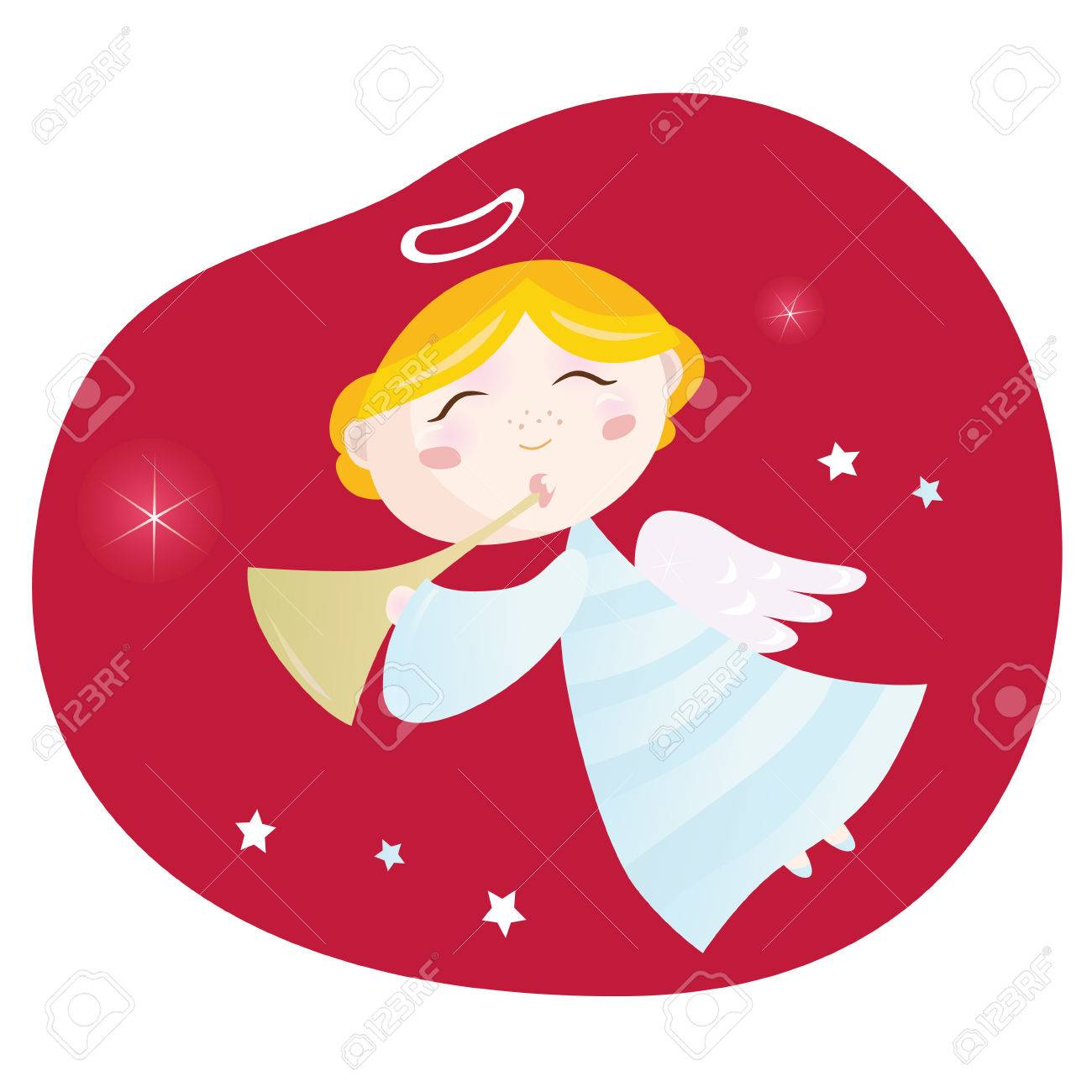 Christmas angel boy with trumpet. Cute christmas angel with trumpet on dark red background � symbol of love and christianity. Vector Illustration. Stock Vector - 5981951