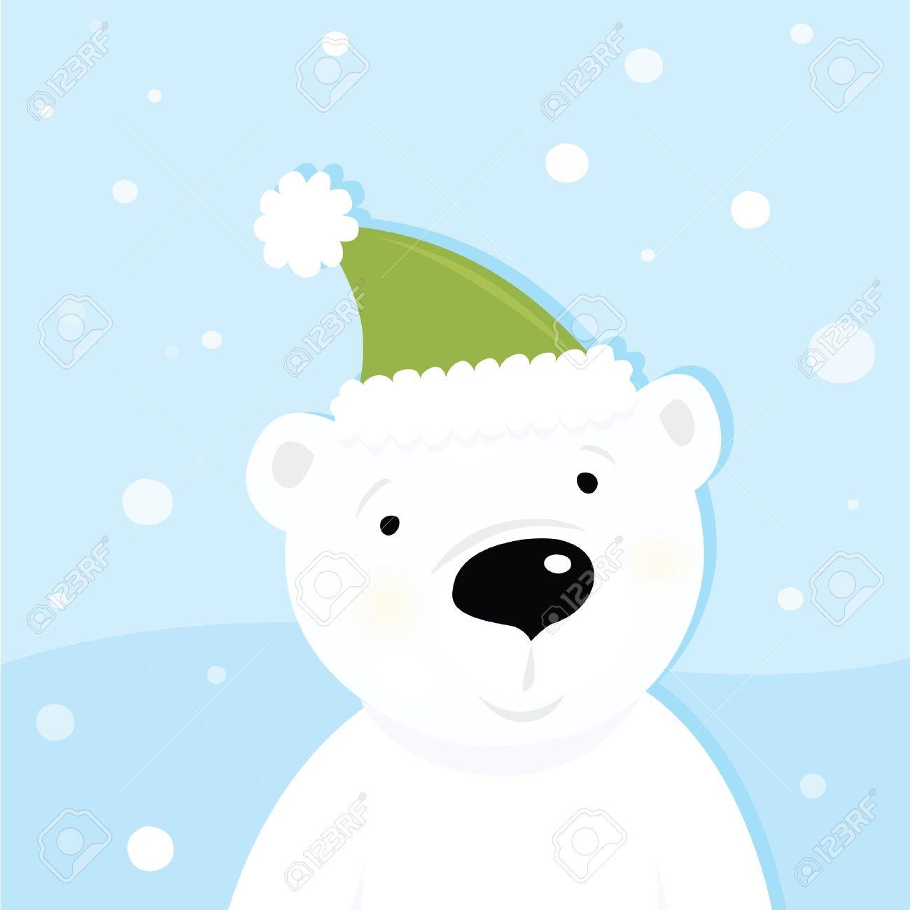 White polar bear on snow. Cute polar bear character with snowy background. Vector cartoon illustration. Stock Vector - 6048019